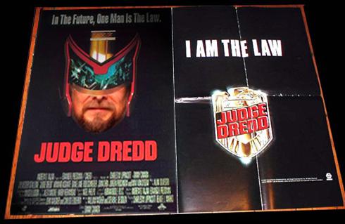 Dan Larhammar som Judge Dredd. Kollage: Torbjörn Sassersson baserat på filmaffisch.