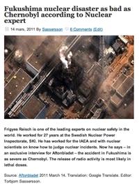 Fukushima vs Chernobyl. Skärmdump från Torbjornsassersson.com