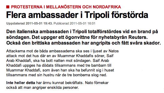 Kriget i Libyen - Skärmdump från DN.se 1 maj 2011