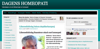Läkemedelsbolag sponsrar skeptiker - Skärmdump från Dagens Homeopati