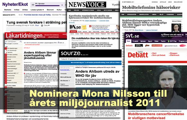 Mona Nilsson nomineras till Årets miljöjournalist 2011
