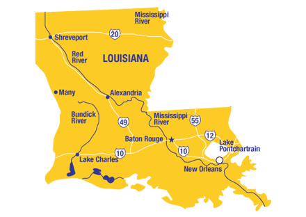 Louisiana, map