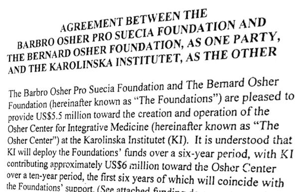 Osher Centrum donation avtal