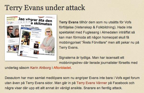 Terry Evans under attack