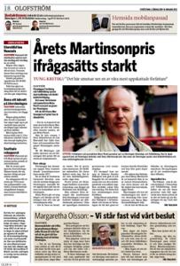 Sydöstran 14 jan 2012 om Harry Martinsonpriset