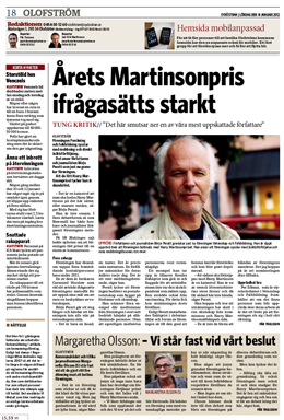 Sydöstran 14 jan 2012 om Harry Martinsonpriset