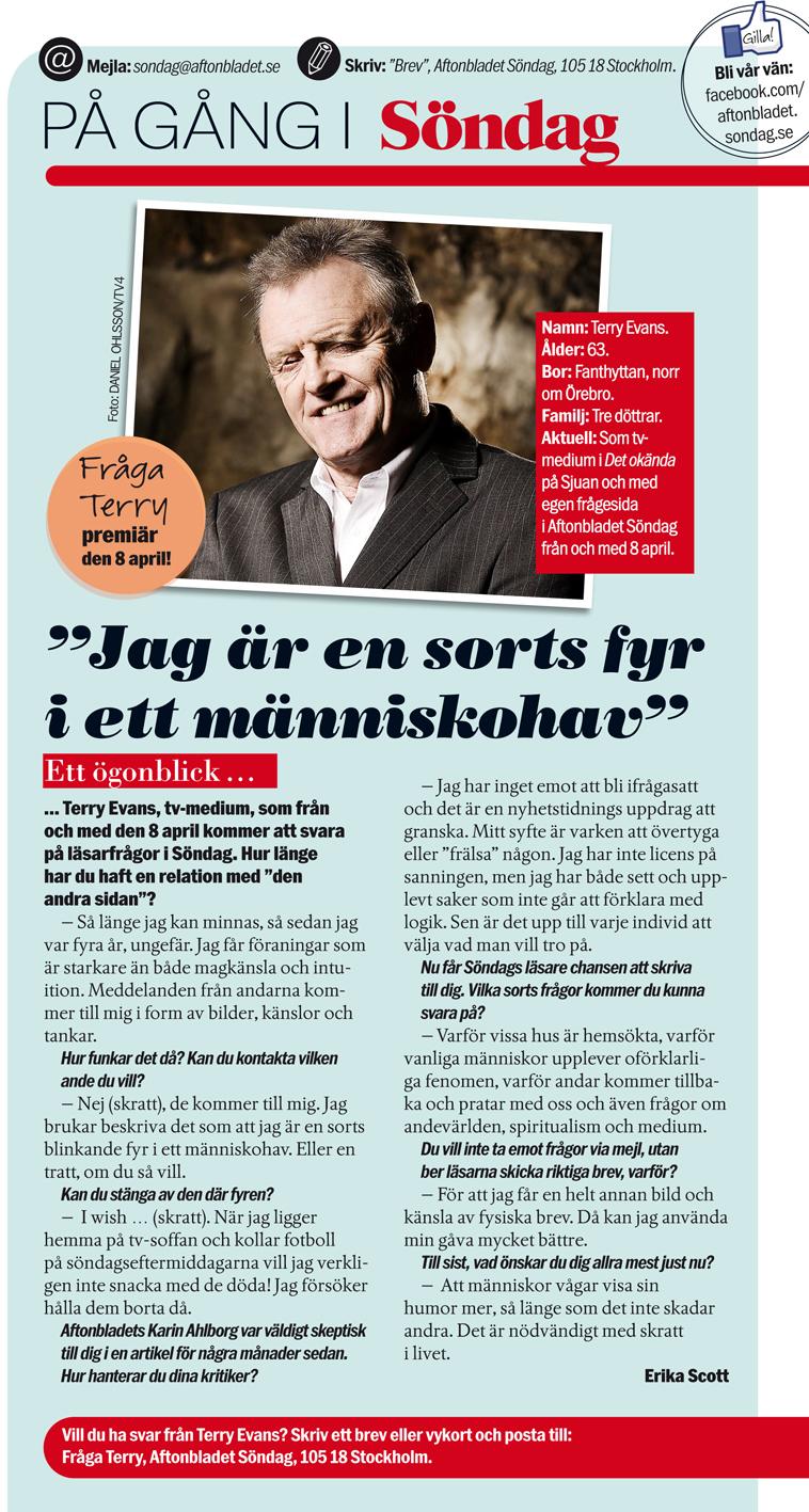 Terry Evans i Aftonbladet söndag from 8 april 2012