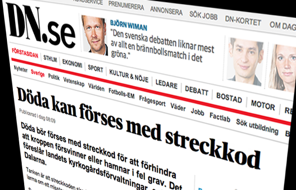 Streckkod för avlidna - Bildkälla: DN.se
