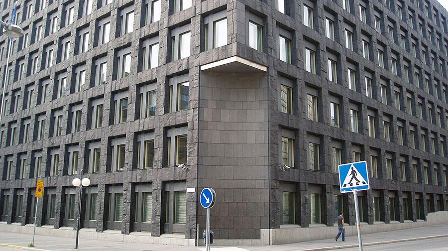 Riksbanken, huvudkontor. Brunkebergstorg. Licens: Public domain, Wikimedia Commons