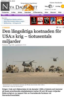 USA krig kostnad