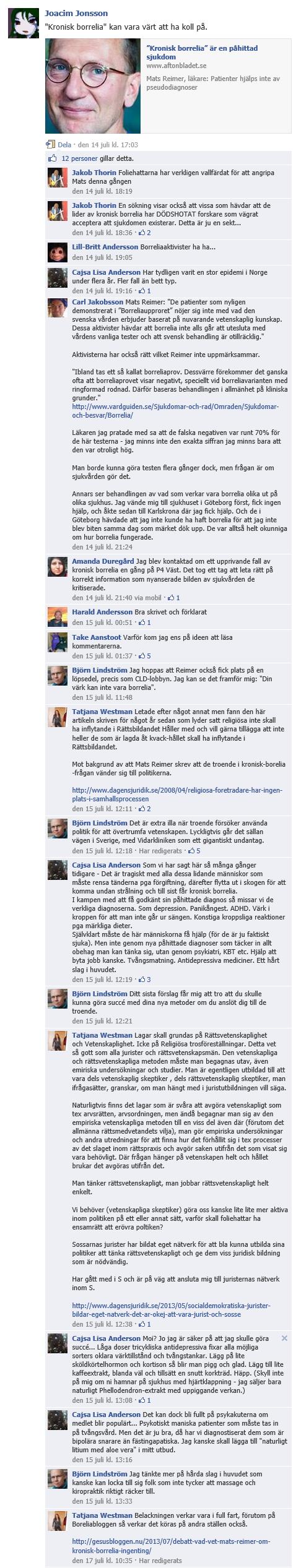 Cajsa Lisa Andersson, Mats Reimer, Borrelia, Facebook