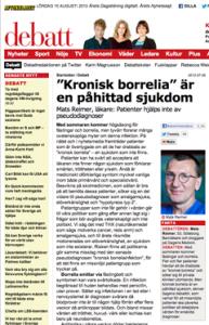 Mats Reimer, Aftonbladet, Kronisk Borrelia