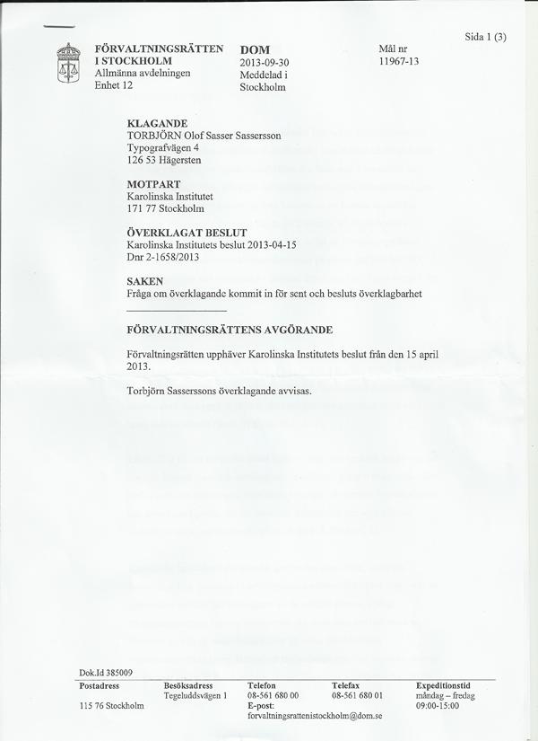 Kammarrätten avslag 30 sep 2013 sid1