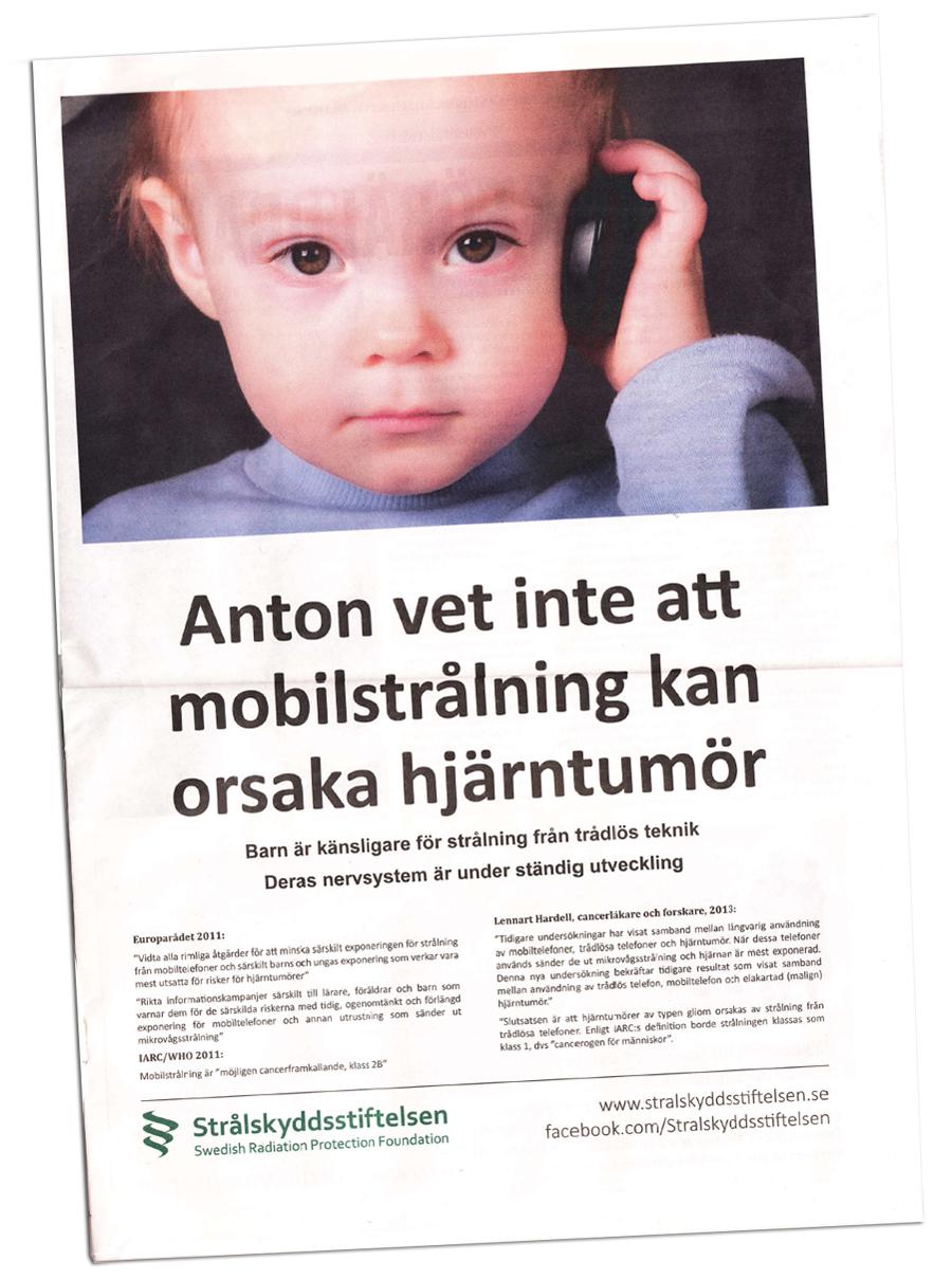 Strålskyddsstiftelsens annons i Sydsvenskan okt 2013