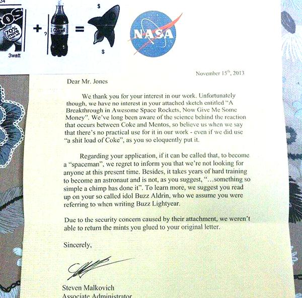 NASA mentos rocket