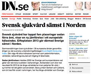 Svensk sjukvård sämst i Norden