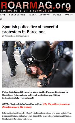 Spanish police brutality Roarmag.org