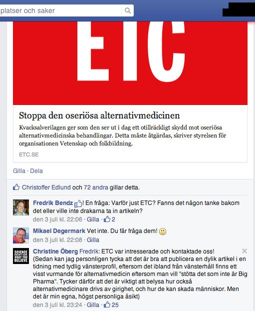 ETC och VoF-debatt mot alternativmedicin