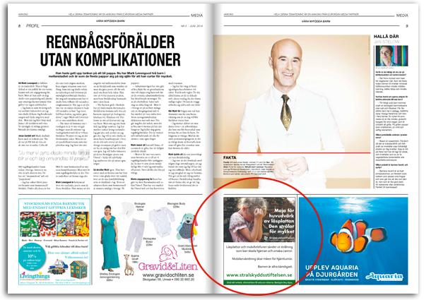 Strålskyddsstiftelsens annons i SvD bilaga juni 2014