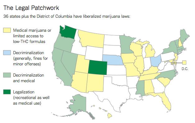USA-stater som legaliserat marijuana cannabis