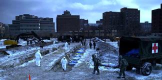 Virus-pandemi. Stillbild från filmen Contagion.