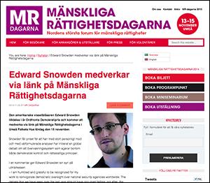 Ed Snowden Ordfronts Demokratipris 2014