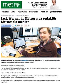 Jack Werner - Faksimil från Metros hemsida