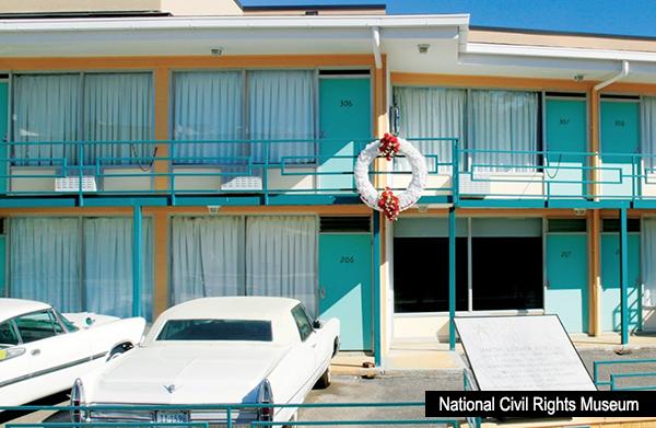 Bild: Här mördades Martin Luther King den 4 april 1968 (Lorraine Motel, Memphis, Tennessee). Foto:National Civil Rights Museum