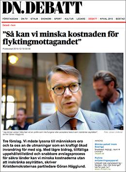 Göran Hägglund asyldebatt DN debatt 18 dec 2014