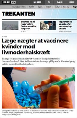 Läkare i Danmark vägrar vaccinera med Gardasil