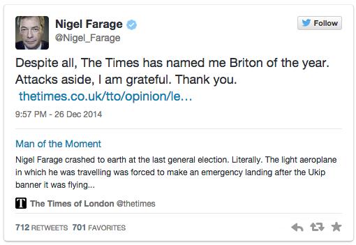 Nigel Farage Briton of the year 2014