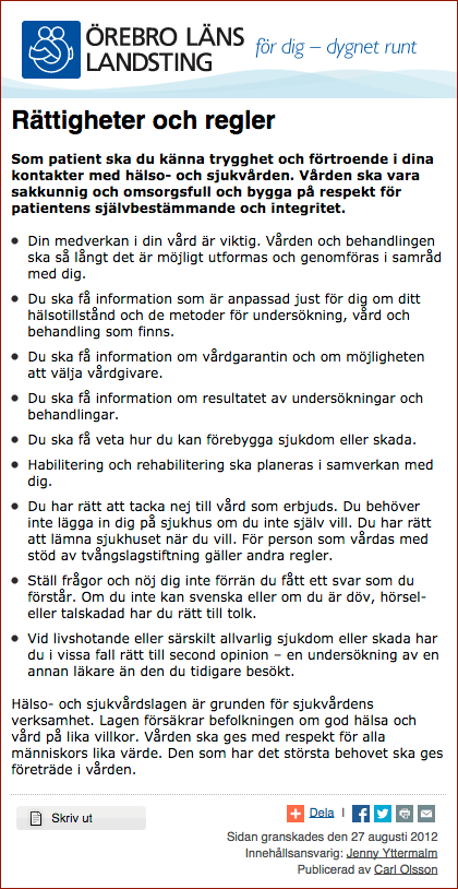 Vårdrättigheter och regler för patienter - Örebro Läns Landsting