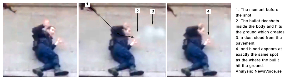 Analysis #2 of the shooting of a police man near Charlie Hebdo office, Paris, January 7, 2015