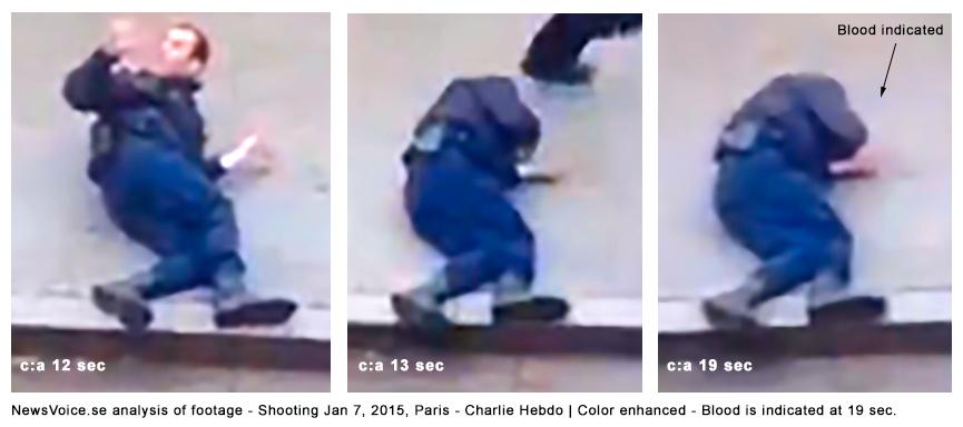 Footage analysis of Shooting of police man on Jan 7-2015 in Paris - Charlie Hebdo Color enhanced