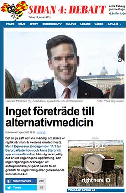 Gabriel WIkström om alternativmedicin 2015