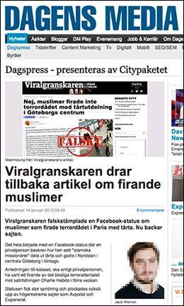Viralgranskaren i Dagens Media - Skärmdump från Dagens Media