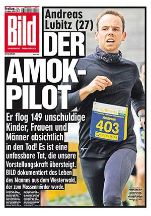 Andreas Lubitz - BILD frontpage