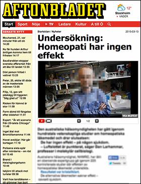 Dan Larhammar om homeopati i Aftonbladet 13 mars 2015