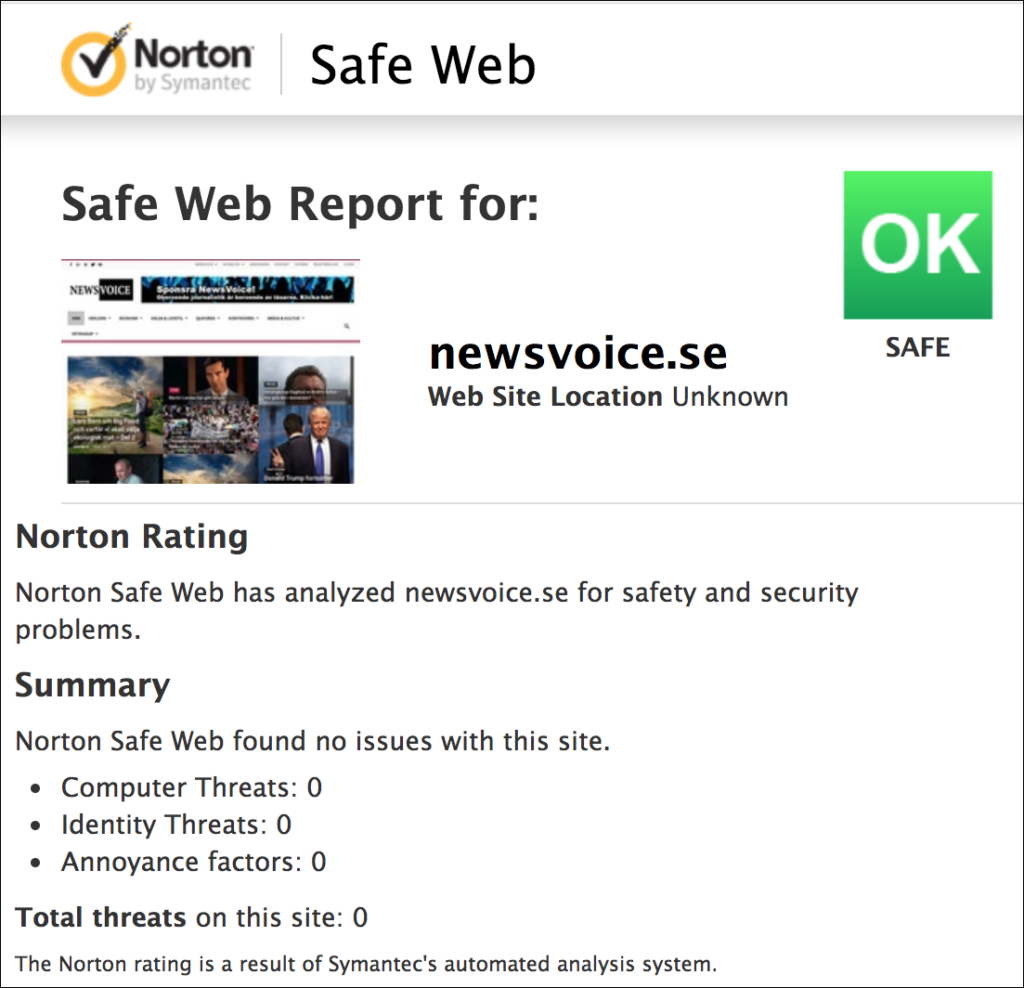 Norton-Safe Web om NewsVoice.se
