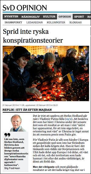 Stig Fredrikson,   SvD,   om konspirationsteorier