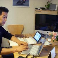 Toru Bové working from home office in Yokohama