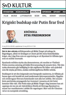 Stig Fredrikson, SvD, om Putin