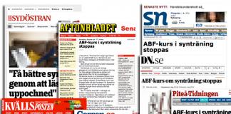Tidningsklipp från medierna om naturlig synträning. Kollage: NewsVoice.se