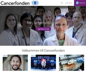 Faksimil av Cancerfondens hemsida