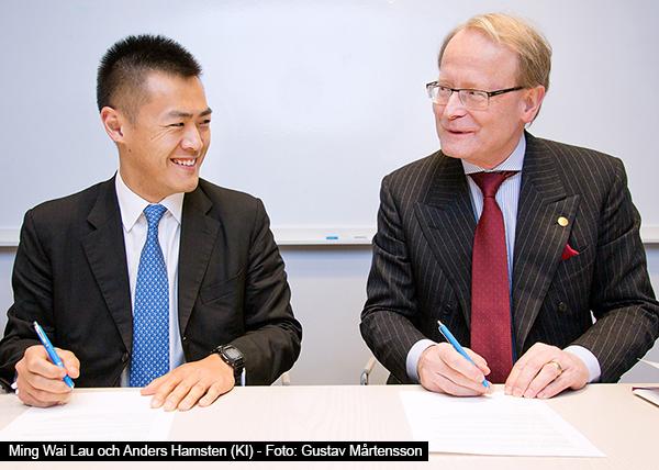 Ming Wai Lau och Anders Hamsten (KI) - Foto: Gustav Mårtensson