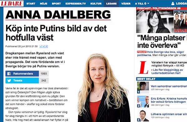 Anna Dahlberg Expressen juli 2015
