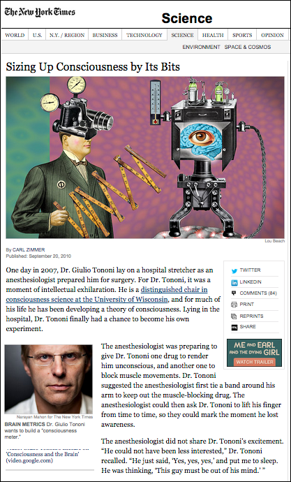 Giulio Tononi experiment NY Times