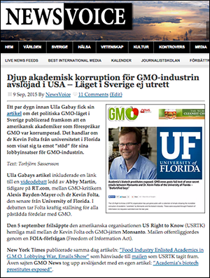 NewsVoice om GMO-lobbying 2015