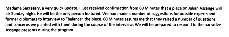 Dep of State Crowley planted question txt Assange 60minutes2011