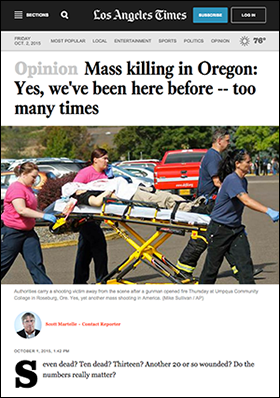 LA-Times: Massacre in Roseburg,   Oregon, 2015